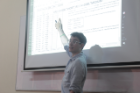 MBA student Anthony Falvo teaches a course on the basics of Excel for MBAs at the University of Cape Coast. Photo: Jordi Owusu