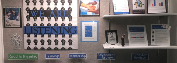 Hallway display of diversity, COVID-19 and committee goals including trainings, mentorship, advisement review, and curriculum review.