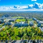 nursing students walking on campus in the fall.