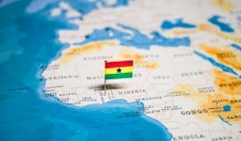 map of Africa with Ghana flag.