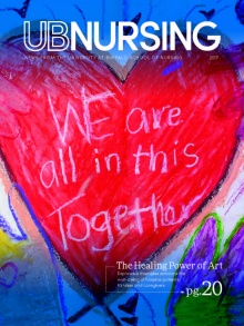"UBNursing magazine cover with heart drawn in crayon that says ""we are all in this together.""."