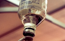 glass bottle for intravenous liquid.