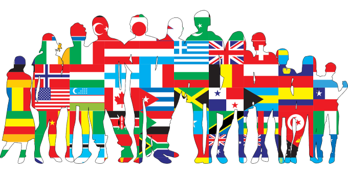 international students with flag overlay.