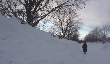 person standing next to large snow pile.