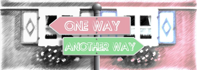 street signs: one way, another way.