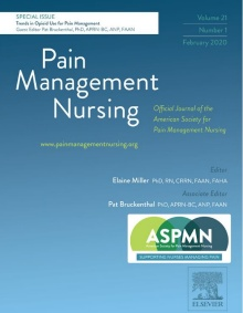 cover of pain management nursing journal.