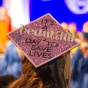 "Graduation cap that reads ""It's a beautiful day to save lives.""."