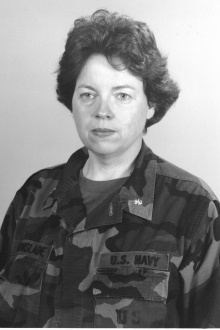 portrait of Susan Grinslade in Navy uniform.