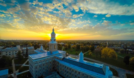 aerial view of UB South Campus at sunset.