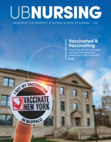 UB Nursing 2020 magazine cover with nurse flexing.