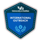 "Hexigonal badge with the interlocking UB logo and the words ""University at Buffalo"" at the top, and the words, ""International Outreach"" in the center on a blue field."