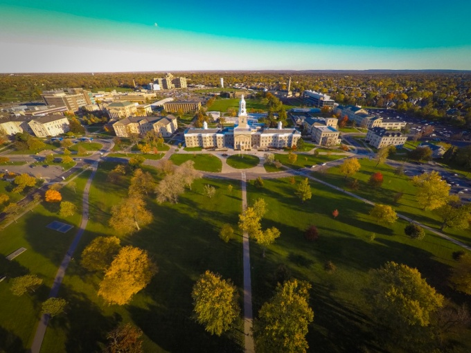 Aerial view of University at Buffalo south campus.