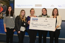 Speech pathology and audiology student Michelle Iliev and OT students Jen Gordon, Allison Bigg, Kayla DeLucia and Shana Martakis won third place for Forget Me Not Mobility Sensor.
